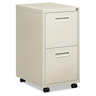 "basyx by HON -Embark Series File/File Pedestal File w/2 ""M"" Pull Drawers, 22""D - Light Gray"