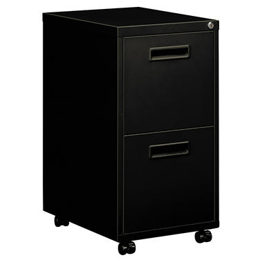 "basyx by HON - Embark Series File/Pedestal File w/2 ""M"" Pull Drawers, 15""W - Black"