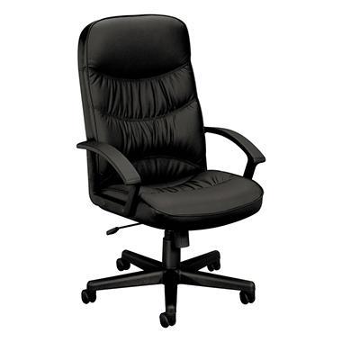 basyx by HON - VL641 Leather High- Back Swivel/Tilt Chair, Metal, 25- 3/4