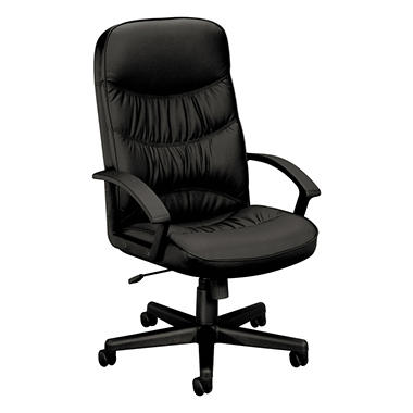 "basyx by HON - VL641 Leather High- Back Swivel/Tilt Chair, Metal, 25- 3/4""W x 28- 1/2""D x 47""H - Black"