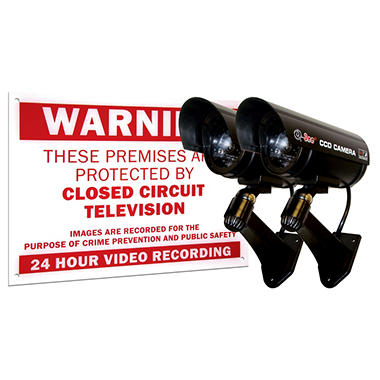 Q-See 2 Pack Decoy Cameras with Realisitic Light Effect and Warning Sign