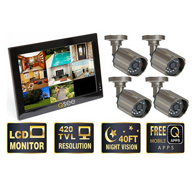 "Q-See 10"" LCD Monitor with Built-in 8 Channel Surveillance DVR with 4 Premium CCD Cameras & 500GB HDD"