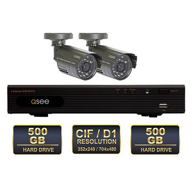 Q-See 4 Channel Surveillance System with 2 Color Day and Night Cameras & 500GB Hard Drive with MAC Compatibility