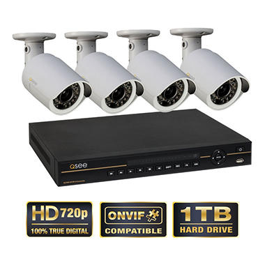 Q-See 8 Channel Security System with 1TB Hard Drive, and 4 HD 720p IP Cameras