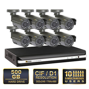 *$299.88 after $100 Instant Savings* Q-See 8 Channel Security System with 500GB Hard Drive, Remote Monitoring, and 8 400TVL Weatherproof Indoor / Outdoor Cameras