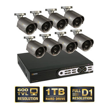 Q-See 8 Channel Full D1 Security System with 1TB Hard Drive, 8 600TVL Cameras, and 100' Night Vision