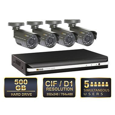 Q-see 4 Channel Security System with 500GB Hard Drive, 4 x 480TVL Cameras, and 50' Night Vision