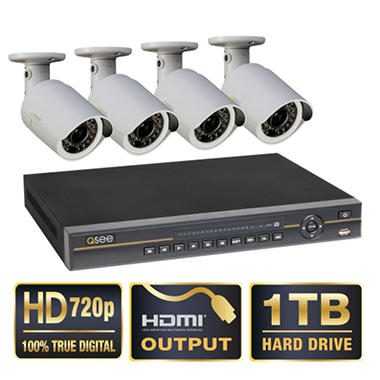 *$699 after $200 Tech Savings* Q-See 8 Channel 720p HD Security System with 1TB Hard Drive, 4 720p Cameras, 100' Night Vision