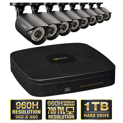 Q-See 8 Channel 960H Security System with 1TB Hard Drive, 8 960H Cameras, and 100' Night Vision