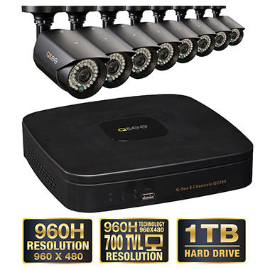 *$399 after $200 Tech Savings* Q-See 8 Channel 960H Security System with 1TB Hard Drive, 8 960H Cameras, and 100' Night Vision