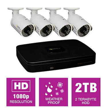 Q-See 4 Channel HD NVR Security System w/ 2TB Hard Drive, 4 1080p IP Cameras, & 100' Night Vision