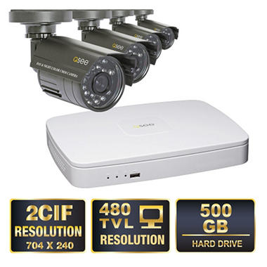*$159.88 after $40 Tech Savings* Q-See 4 Channel 2CIF Security System with 500GB Hard Drive, 4 480TVL Cameras, and 50' Night Vision