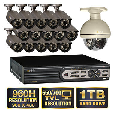 *$799 after $200 Tech Savings* Q-See 16 Channel 960H Security System with 15 High-Resolution 700TVL Cameras, 1 Pan-tilt Camera and 1TB Hard Drive