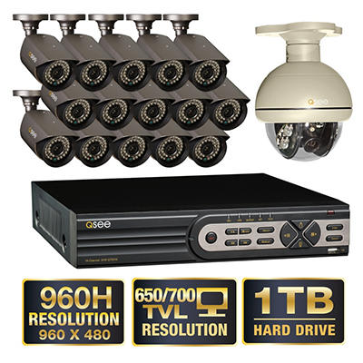 Q-See 16 Channel 960H Security System with 15 High-Resolution 700TVL Cameras, 1 Pan-tilt Camera and 1TB Hard Drive