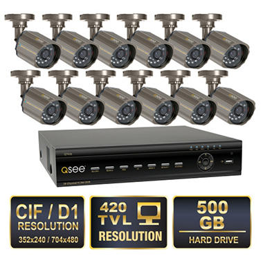 Q-See 16 Channel Security System with 500GB Hard Drive, 12 420TVL CCD Cameras, and 40' Night Vision