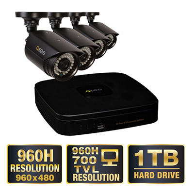Q-See 4 Channel 960H Security System with 1TB Hard Drive, 4 960H Cameras, and 100' Night Vision