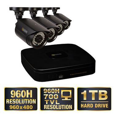 *$269.88 after $100 Tech Savings* Q-See 4 Channel 960H Security System with 1TB Hard Drive, 4 960H Cameras, and 100' Night Vision
