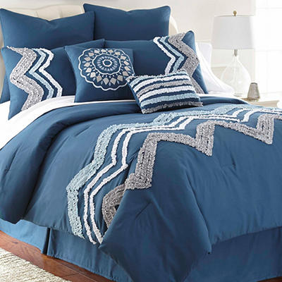 Kira 8 Piece Embroidered Comforter Set - Various Sizes and Colors