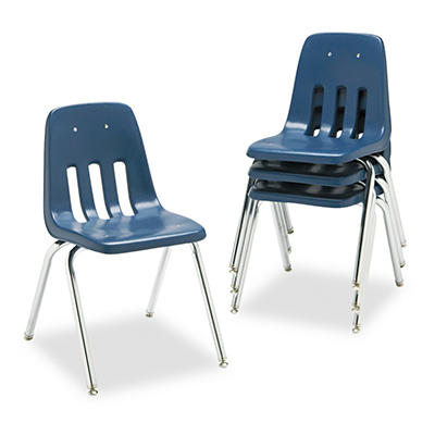Virco - 9000 Series Classroom Chair, Black/Chrome Frame - 4/Carton