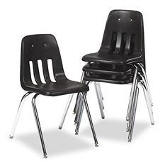 Virco - Series 9000 Plastic Stack Chair - Black - 4 ct