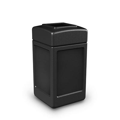 Commercial Zone Square Waste Container, Open Top Lid, Polyethylene, 42-gal, Black