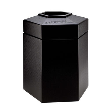 Commercial Zone Hexagon Trash Can - Black - 45 gal.