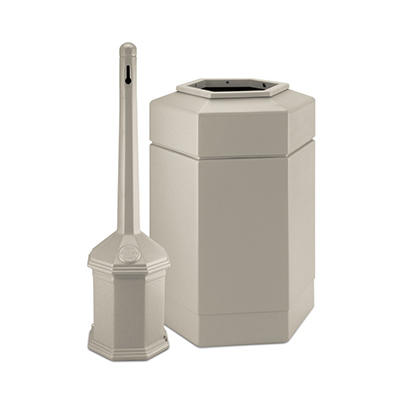 Site Saver Cigarette and Trash Can Combo - Beige - 30 gal.