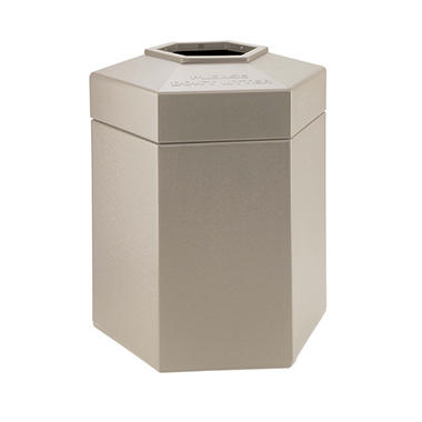 Commercial Zone Hexagon Trash Can - Beige - 45 gal.