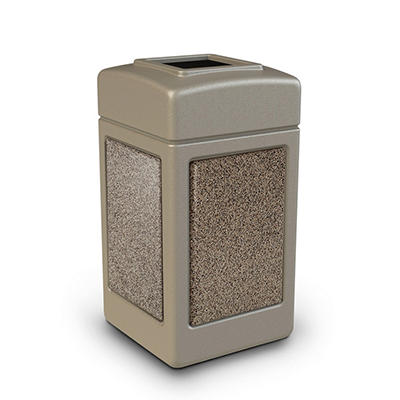 Commercial Zone StoneTec Waste Container, 42-gal, Polyethylene, Beige with Riverstone Panels