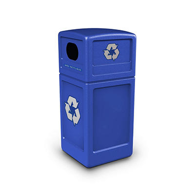 Commercial Zone Recycle42- Recycling Bin with Dome Lid and Decals, Blue, Polyethylene, 42-gal