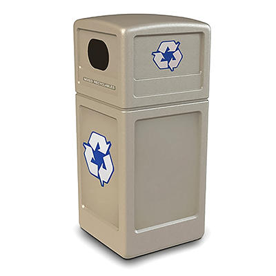 Commercial Zone Recycle42- Recycling Bin with Dome Lid and Decals, Beige, Polyethylene, 42-gal