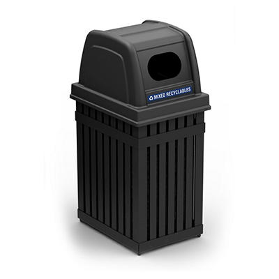 ArchTec Parkview Single Trash or Recycle Bin - Black - 25 gal.