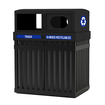 ArchTec Parkview Double Trash/Recycle Bin - Black - 50 gal.