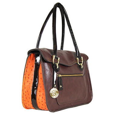 London Fog Westway Flap Handbag - Cognac