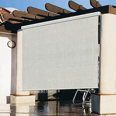 8 39 x 8 39 exterior roller shade premier desert sand w for Exterior roller shade