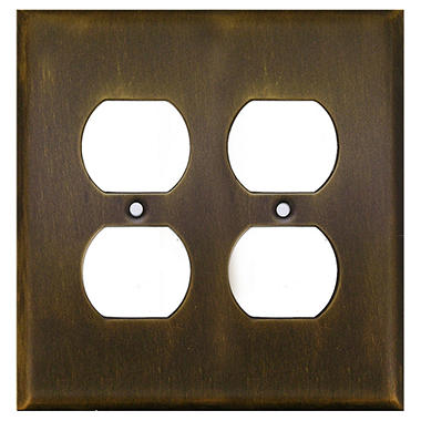 Double Outlet in Antique Brass