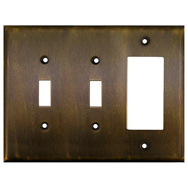 Combination Decora GFI-Double Switch-Antique Brass