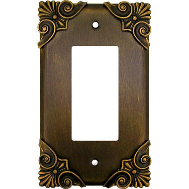 Corinthia Single Decora GFI in Antique Brass