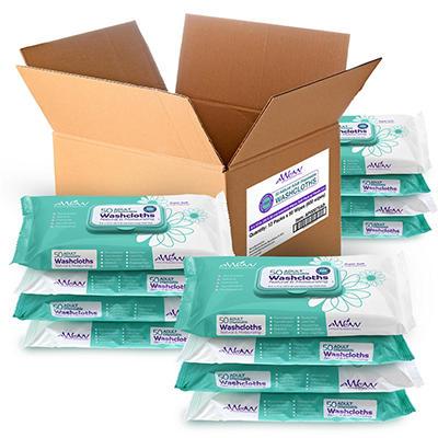 Adult Disposable Washcloths - 12 pk. case/ 48 ea.