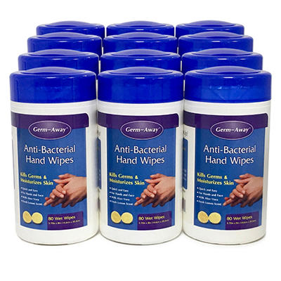 Anti-Bacterial Hand Wipes - 12 pk. case/ 80 ea.