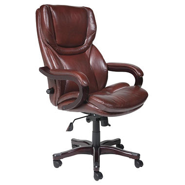Lane Big & Tall Leather Executive Office Chair with Wood Detail Accents