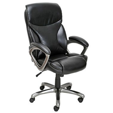True Innovations - Bonded Leather Manager Chair - Black