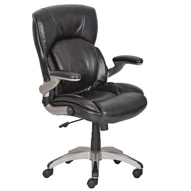 Serta My Fit Managers Chair - Chestnut Brown Leather