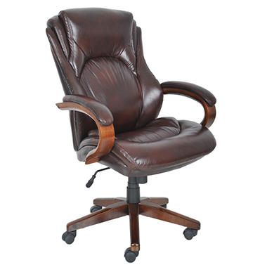 Lane Big & Tall Bonded Leather Executive Chair - Sepia Brown