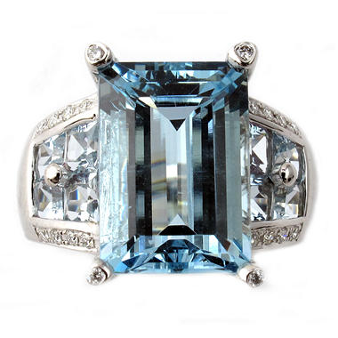 Emerald-Cut Aquamarine Ring with Diamond Accents in 14K White Gold