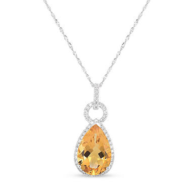 Pear Shaped Citrine Pendant with Diamonds in 14K White Gold