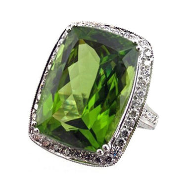 Cushion-Cut Peridot & Diamond Ring in 14K White Gold