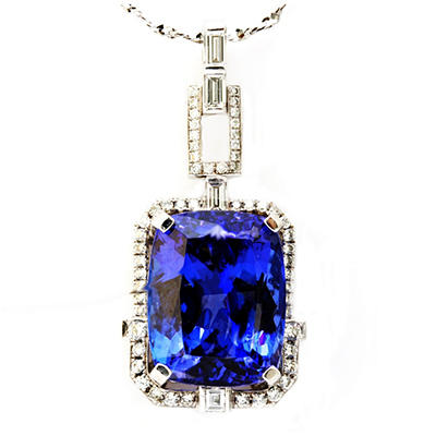 Cushion Shaped Tanzanite Pendant with Diamonds in 18K White Gold