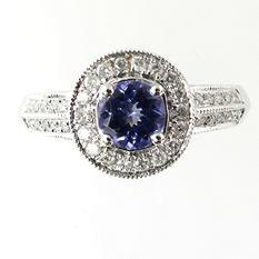 0.25 ct. Diamond and  0.70 ct. t.w. Tanzanite Ring