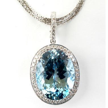 20 ct. Aquamarine and Diamond Pendant